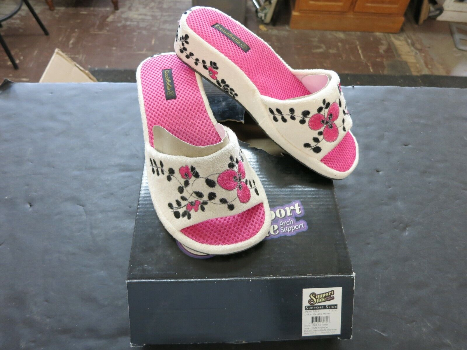 arch support slide shoe pink white