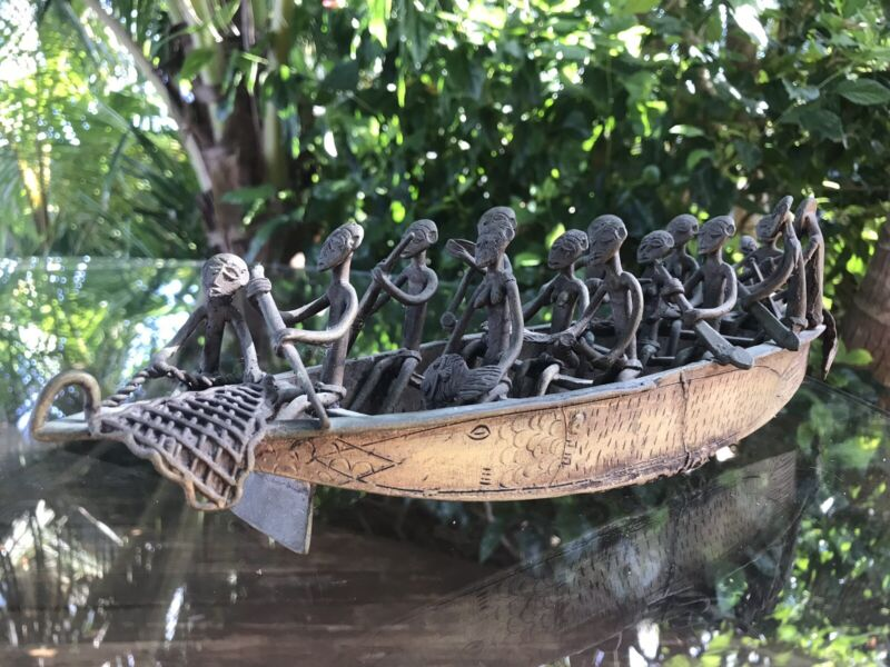 Antique/ Vintage Brass Bronze African Akan Ashanti Fisherman Boat Sculpture