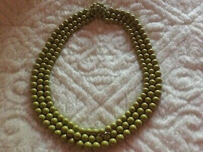 Vintage 50's Chunky Plastic Bead Necklace Green  Multi 3 Strand -