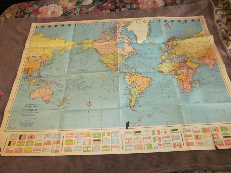 Fabulous Vintage 50x38 World Colorprint Map - Political Divisions & More - LOOK