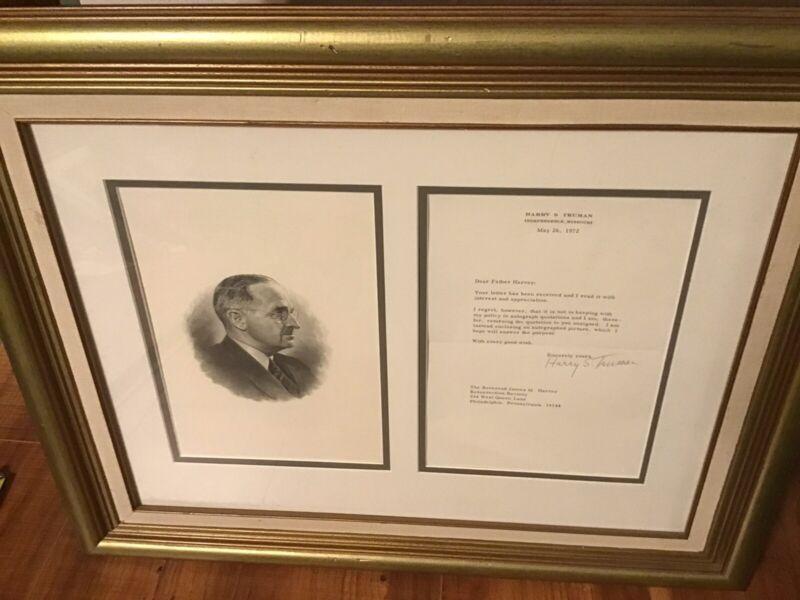 Harry S. Truman Signed Autograph Framed Letter Etching Rev. James Harvey