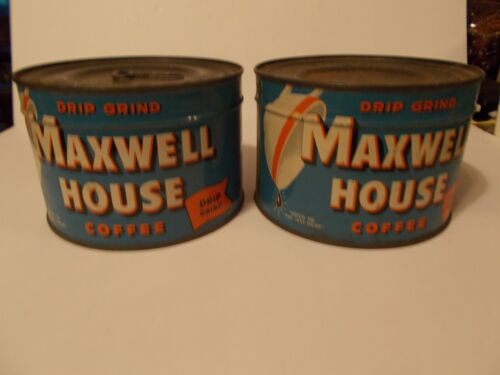 2 Maxwell House Coffee Unopened Keywind Tin Cans with 1 Key Sealed Drip Grind