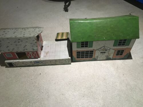 Vintage Marx Tin House and Barn Antique Playhouse