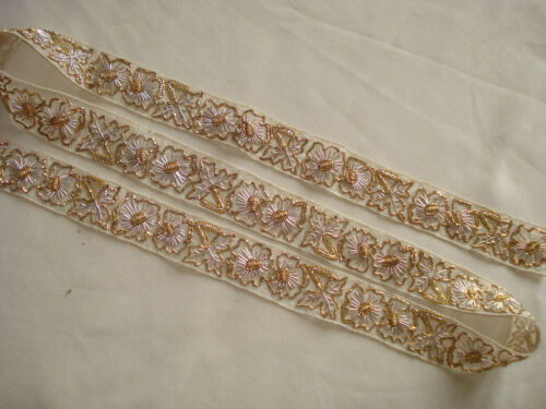 "antique gold and silver cannetille hand embroidered gauze trim     1""  wide"