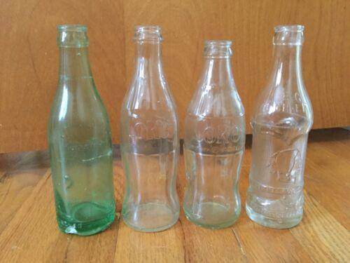 4 Vintage Pop Soda Bottles - Green - Coca Cola & Big Chief