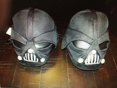 New Adult XL 11-12 Black Star Wars Darth Vader Helmet Plush Slippers Disney for sale  Bellville