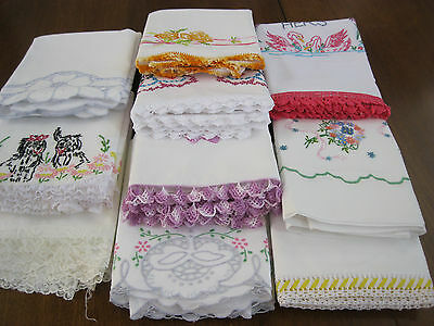 GORGEOUS LOT OF *10* PAIRS/SETS VINTAGE HAND EMBR/CROCHET/CUTWORK PILLOWCASES