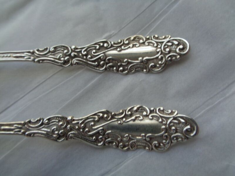 """2 STERLING DEMITASSE SPOON RODEN BROS ORNATE """"LUXEMBOURG"""" PATTERN GOLD WASH"""