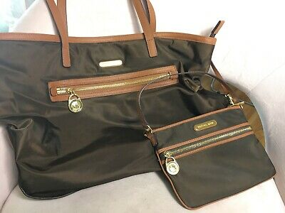 michael kors purse and wallet brown gold zipper matching espresso authentic