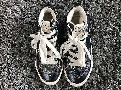 Zara Kids Black Leather Shoes Size 3 (EU 34) with Zipper Opening