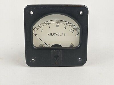 Vintage Hoyt Square Panel Meter Measuring Kilovolts W Range 0 To 3.0