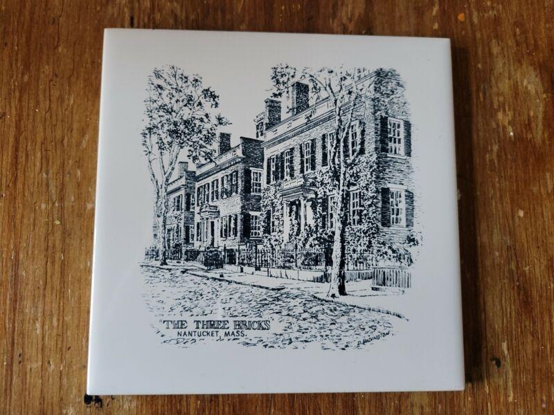 "Vintage Screen Craft Nantucket The Three Bricks Tile Trivet 6"""