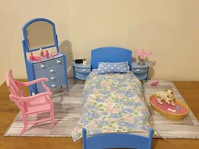 Vintage Barbie Blue Bedroom Furniture Set with Extra Accessories VGC