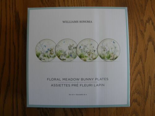 Set 4:Williams Sonoma Floral Meadow Bunny Rabbit Dinner Plates-Easter/Spring-New