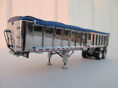 DCP 1/64 SCALE EAST END DUMP TRAILER WITH CHROME SIDES SILVER FRAME BLUE TARP