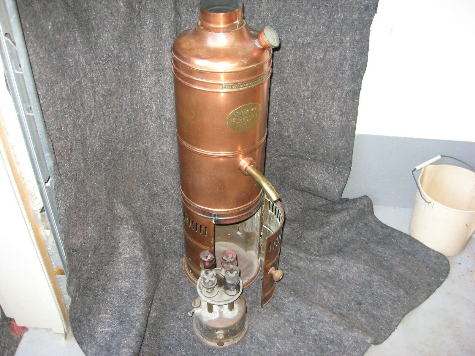 Antique English Water Heater With Heater Compartment And Kerosene Heater - $350.00