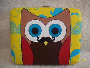 Women's *Owl with Mustache* Wallet~Snap Close~Yellow, Brown, Blue,Red