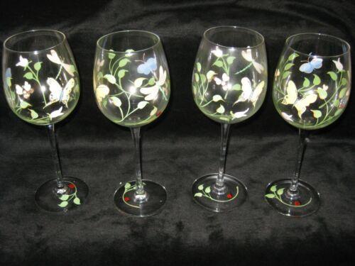 MINT LENOX BUTTERFLY MEADOWS 4 WINE GLASSES HANDPAINTED MINT IN BOX