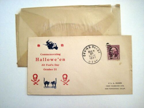 "1937 Scary ""Halloween"" Envelope w/ Skull & Cross Bones, Black Cat & Witch *"