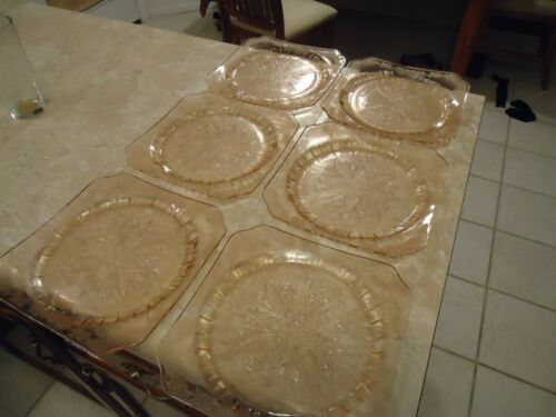 "Set of 6 Pink Adam 9"" Square Dinner Plates"