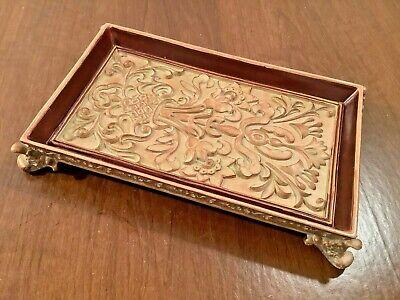 Footed Solid Resin Trinket Vanity Tray Embossed Floral Scrolls Brown Tan