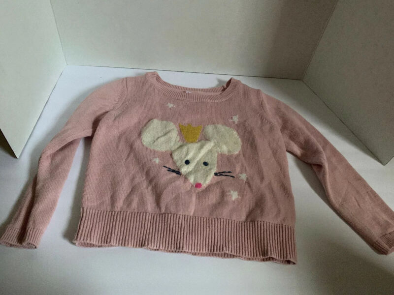 Baby Gap Crowned Mouse Girls Toddler Pink Sweater 4T Nutcracker Christmas Ballet