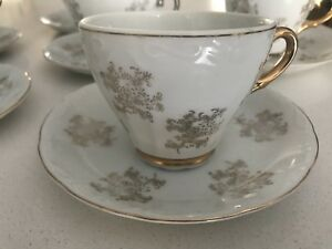 Hand painted and gold/silver plated tea/coffee 12 piece set