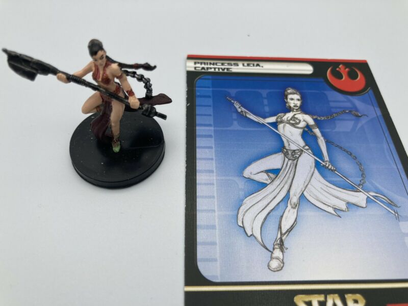 Star Wars Miniatures PRINCESS LEIA, CAPTIVE w/ Card 12/60 (VR) WOTC Game 2004 RS