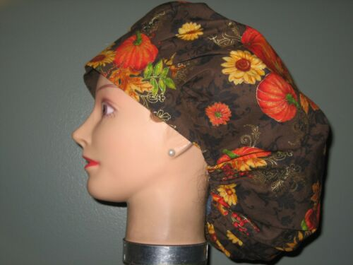 Surgical Scrub Hats/Caps Thanksgiving/Fall Pumpkins,Sunflowers,fall follage w/sp