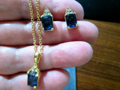"""Sapphire look Necklace 9.5"""" & Goldtone Stud earrings about 1/2"""" Length~Great set"""
