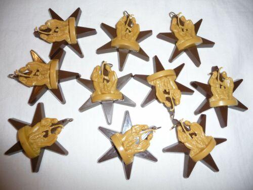 VTG Lot Plastic Star Nativity X-mas Tree Ornaments~Hong Kong/ Italy/ Mary Joseph