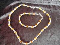 Bello ,vecchio Set Gioielli __argento 925 Con Amber Perline__catena Braccialetto -  - ebay.it
