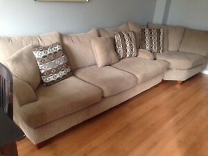 2 Piece Putty Chenille Sectional sofa and corner wedge