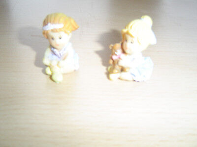 2 Ballet Dancer Figures - Tying Shoes and Teddy Bear
