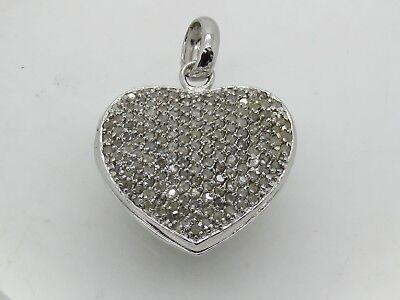 HOLLOW Sterling Silver .925 Round Diamond Cluster Heart Locket Necklace Pendant Diamond Heart Locket Necklace