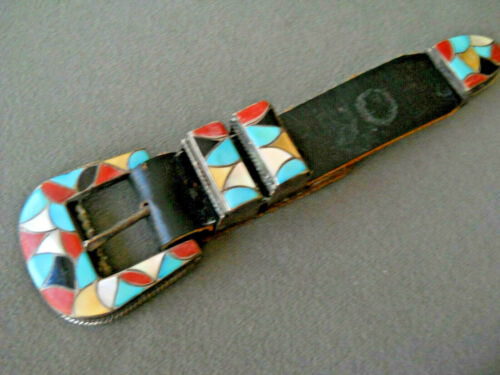 Old S, & M. Tucson Zuni Multi-Stone Fish Scale Inlay Sterling Silver Ranger Set