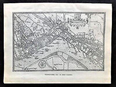 """1904 Antique Map of """"Westminster in 1593 """" by John Norden ~ Birds Eye View"""