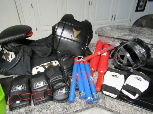 ATA Taekwondo Karate Martial Arts Sparring Gear Bag & Equipment Lot Youth Size