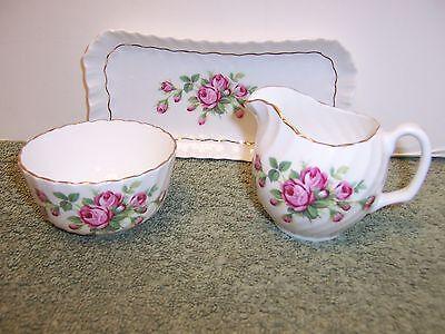 Royal Adderley Bone China Creamer & Sugar Bowl With Tray Pink Roses Ridgway