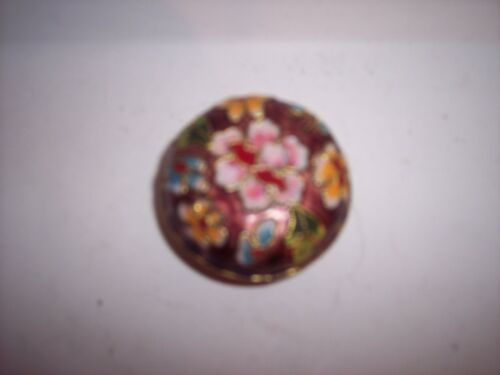 """Vtg. Chinese Cloisonné Enamel Round Trinket Box Floral Multi Color Motif 1 3/4"""""""