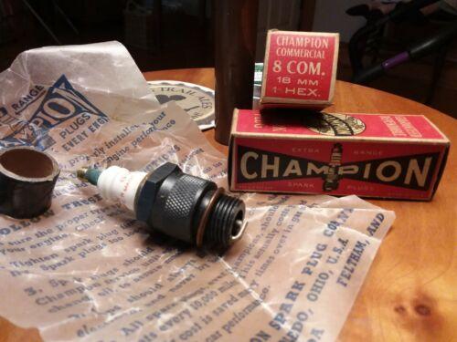 2 Vintage Champion 8 Com Spark Plugs unused 18mm NOS with box auto truck