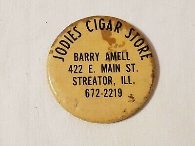 Vintage Advertising Hand Compact Mirror - Jodies Cigar Store, Streator, IL