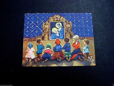 #H354 Vintage Erica Von Kager Brownie Xmas Greeting Card Children Praying