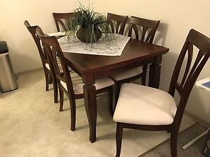 Solid walnut wood table with 6 chairs