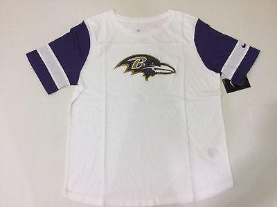 Nike Women's Baltimore Ravens Team Fan Short-Sleeve Top WHITE/ORCHID XL Baltimore Ravens White Fan
