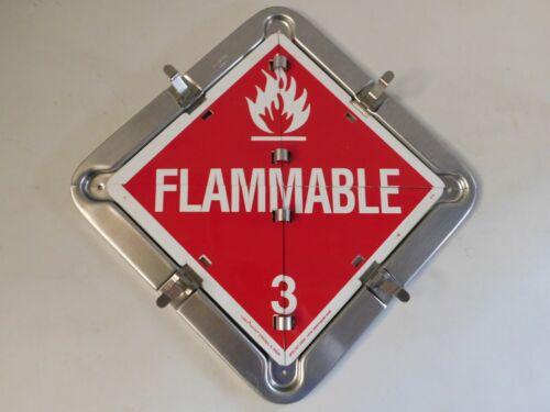 LabelMaster Flammable Non Gas Corrosive, Oxidizer  Aluminum Flip HAZMAT Placard