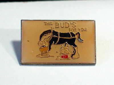 "Vintage ""This Bud's for You"" Horse Drinking Beer and Peeing in a Bucket Pin"