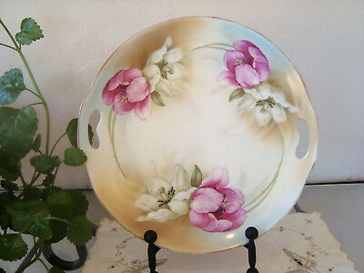 Beautiful ES Prussia Suhl, handled cake plate,Tulips!