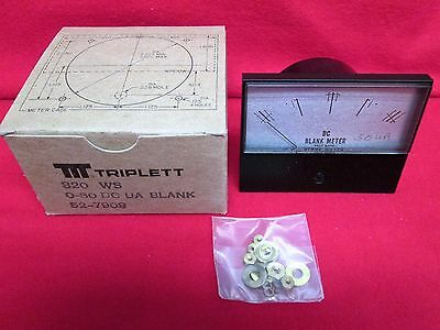 New Triplett Ua 50 Dc Microamperes Taut Band Blank Panel Meter 320 Ws Analog