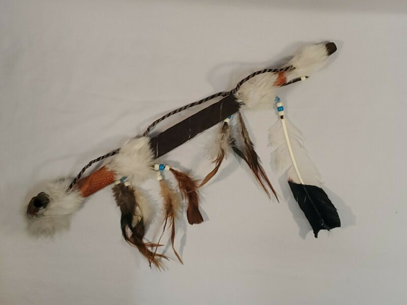 CEREMONIAL PEACE PIPE 19 in. Sioux Style Beaded Buckskin Antler Bowl FUNCTIONAL